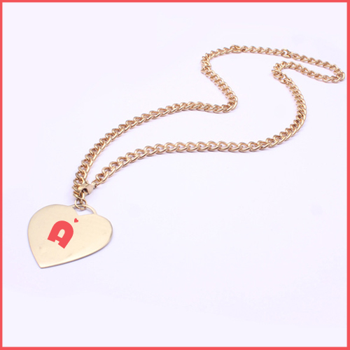 Print Name on Rose Gold Necklace With Heart Pendent