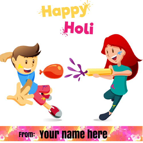 Kids Plying Holi Festival Wishes Greeting With Name