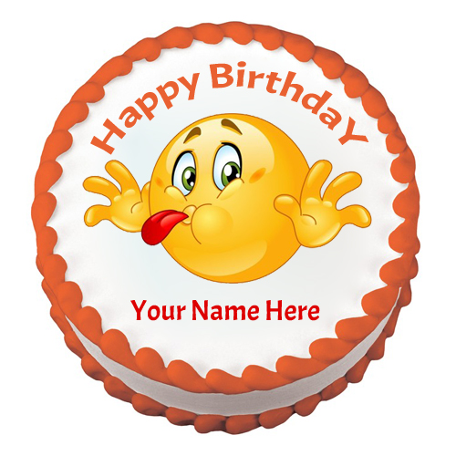 Write Name On Smiley And Emoji Birthday Cake Picture