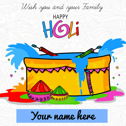 Wish You Happy Holi Colorful Greeting With Your Name