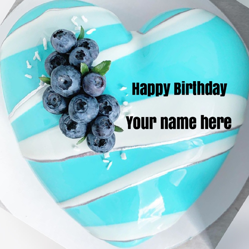 Beautiful Heart Shape Blackberry Cake With Your Name