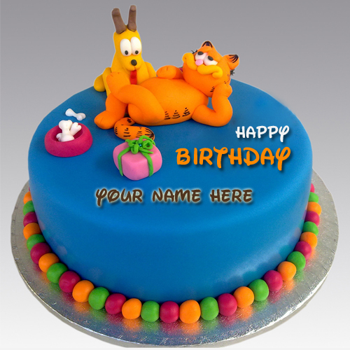 Happy First Birthday Wishes Garfield Cake With Kid Name