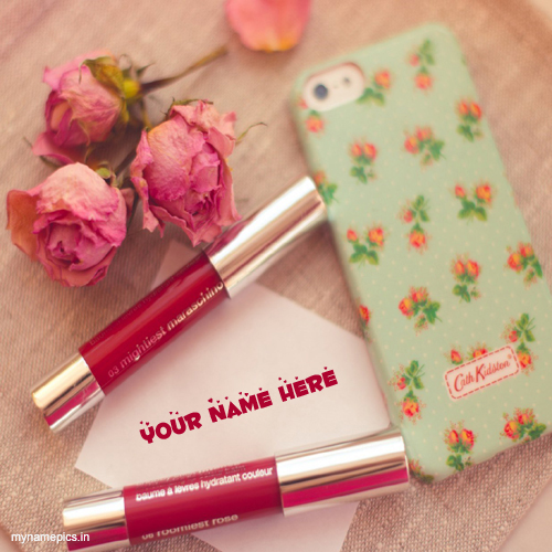 Write name on mobile and lipstick profile pic