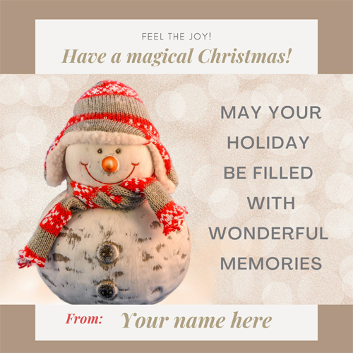 Print Name on Christmas Celebration With Snowman Card
