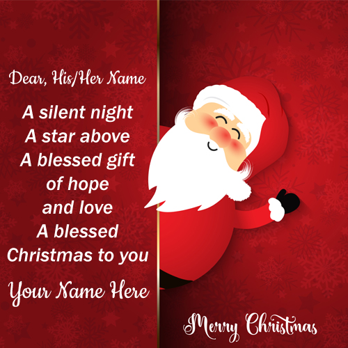 Cute Santa Claus Christmas Quote Greeting With Name