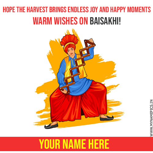 Write Name on Baisakhi Festival Dance Greeting Card