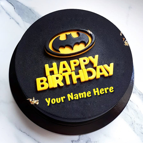 Batman Theme Birthday Wishes Cake With Your Name