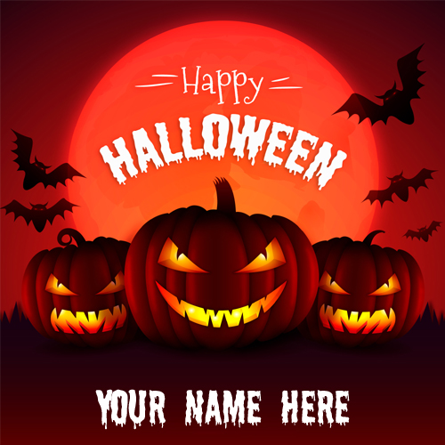 Happy Halloween Name Wishes Picture With Evil Pumpkins
