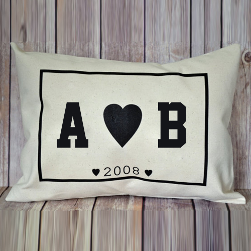 Print Couple Name Initial on Love Heart Pillow Profile