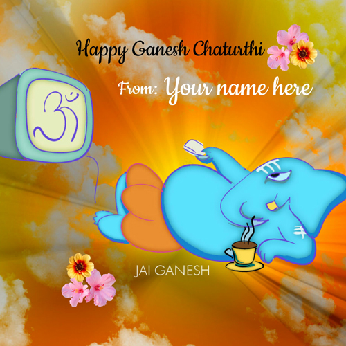 Lord Ganesh Chaturthi Blessing Cute Greeting With Name