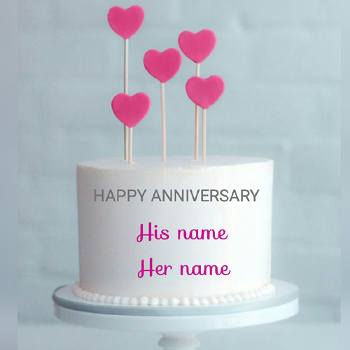Beautiful Anniversary Double Layer Name Cake With Heart
