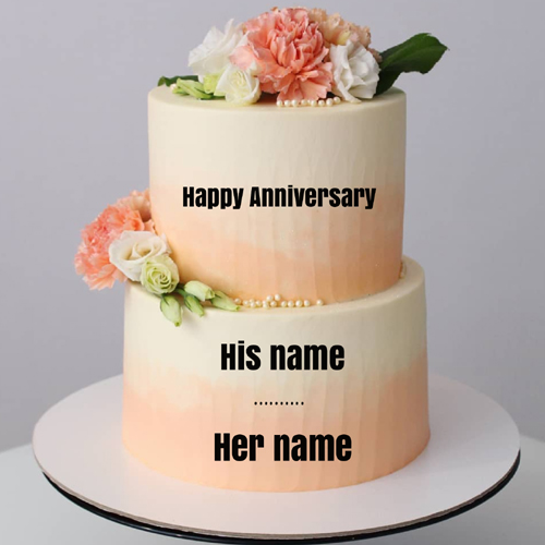 Happy Anniversary Romantic Double Layer Cake With Name