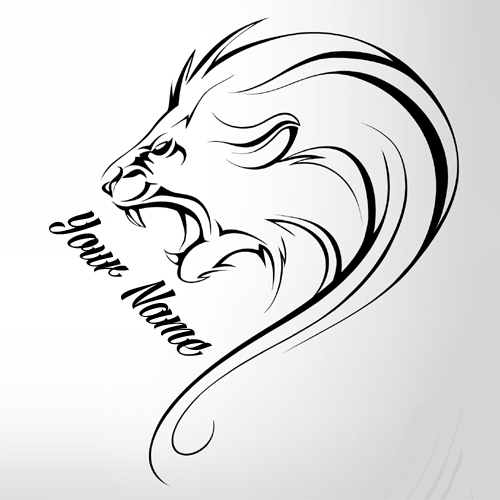 Roaring Lion Elegant Tattoo Design Pics With Your Name