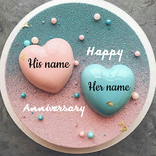 Beautiful Couple Heart Cake For Anniversary With Name