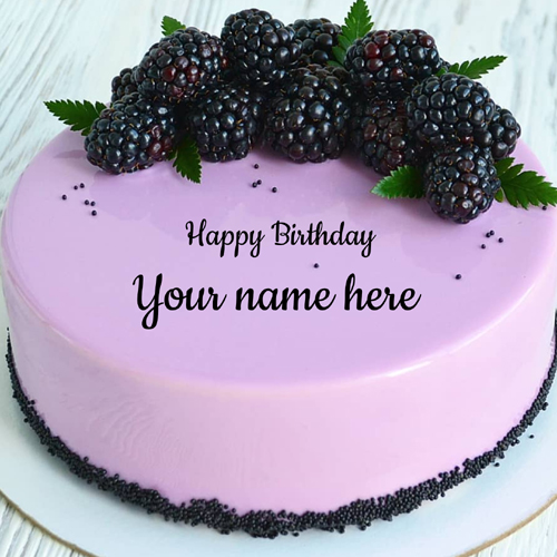 Write Name on Blackberry Cake With Cheese Frosting