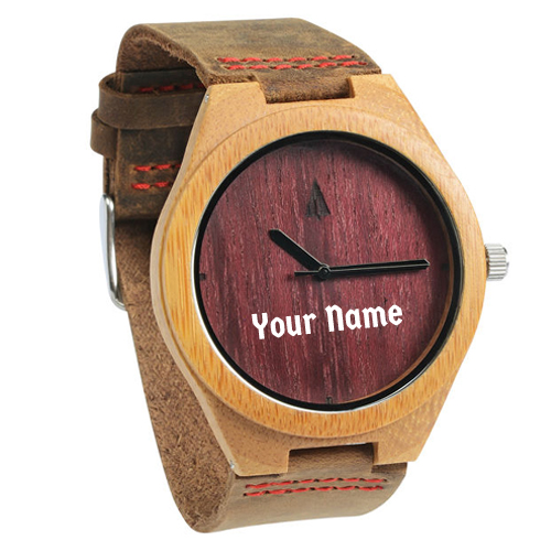Print Name on Wooden Purple Heart Plain Watch