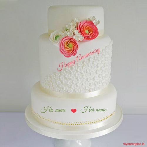 Write Name On New Wedding Anniversary Cake Profile Pic