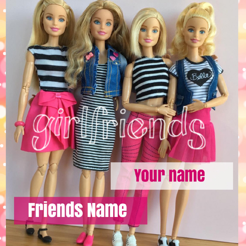 Write Your Name on BFF Greeting Card With Cute Dolls