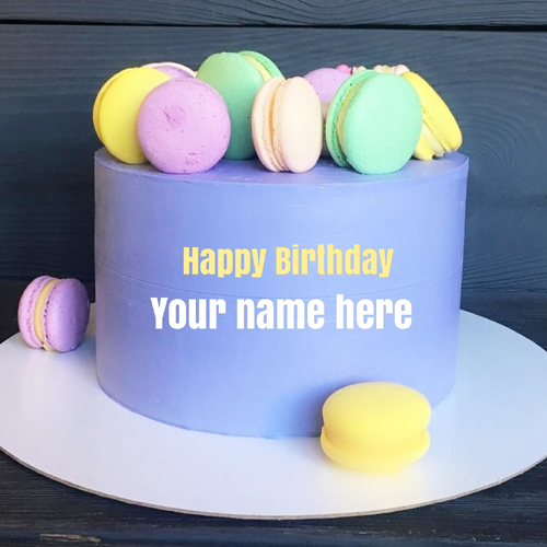 Write Name on Purple Birthday Cake With Colorful Donuts