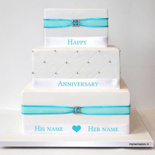 Write name on beautiful anniversary cake profile pic