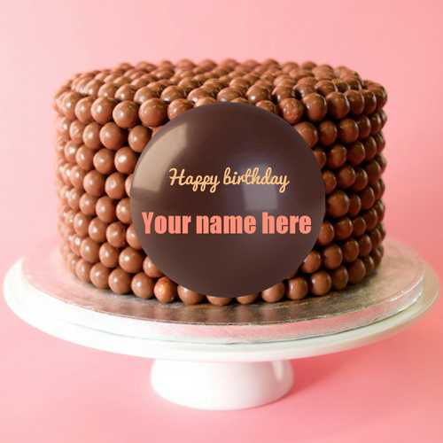 Happy Birthday Chocolate Balls Cake With Your Name