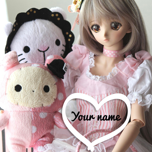 Cute Doll With Pink Teddy Bear Greeting With Your Name