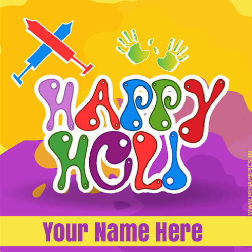 Beautiful Holi Wishes Colorful Greeting With Your Name