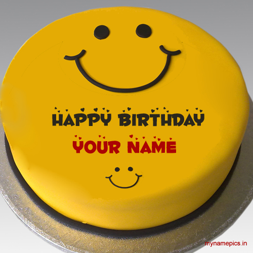 Write name on beautiful smiley cake profile pics