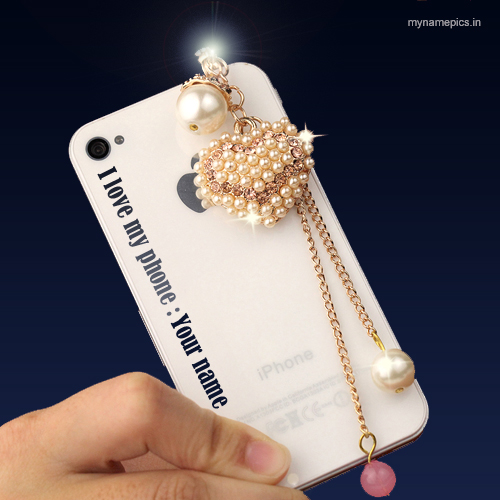 Write name on beautiful diamond heart mobile case pix