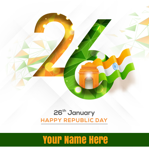 Happy Republic Day Wishes Elegant Wish Card With Name