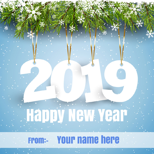 Write Name on Happy New Year Wishes Greeting Card