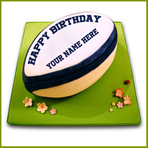 Happy Birthday Wishes Rugby Ball Cake With Your Name