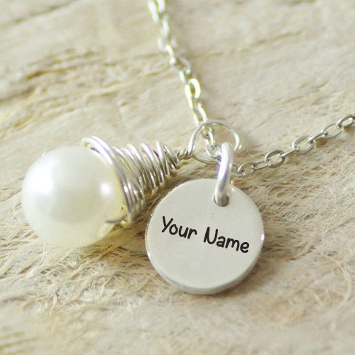Alloy Pearl Disc Necklace With Silver Pendant and Name