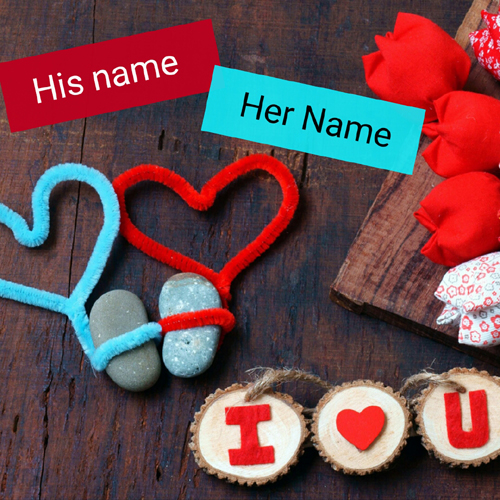 I Love You Couple Heart Romantic Greeting With Name