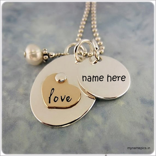 Write name on gold necklace profile pics.