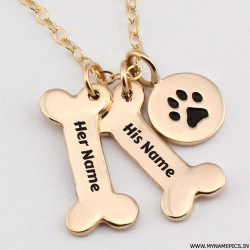 Personalized Dog Paw Necklace With Love Couple Name