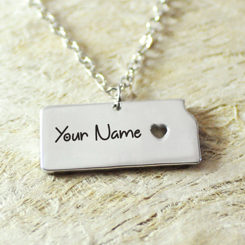 Beautiful Alloy Necklace With Heart Charm and Your Name