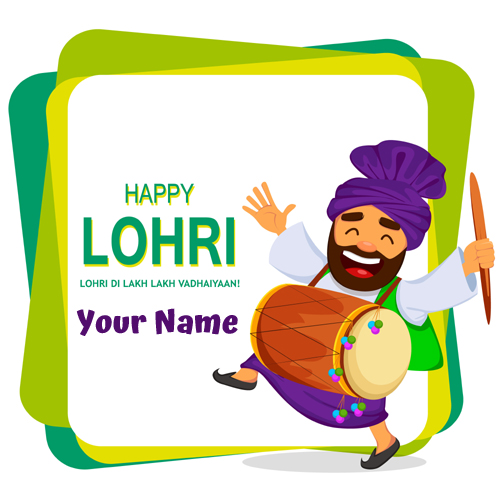 Happy Lohri Festival Wishes Elegant Greeting With Name