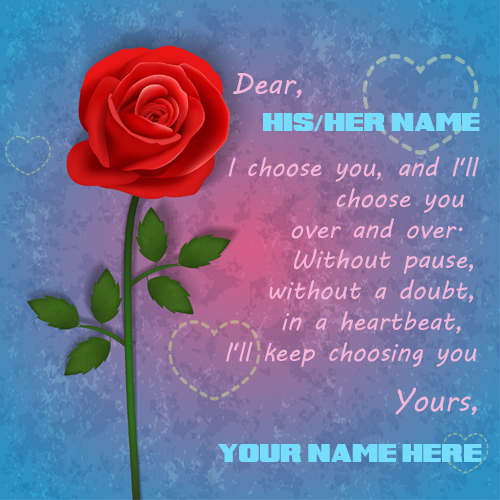 Love note with rose with your loved one name