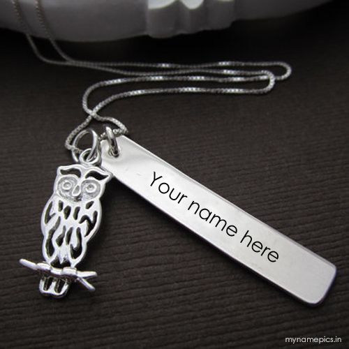 Write your name on owl necklace display picture