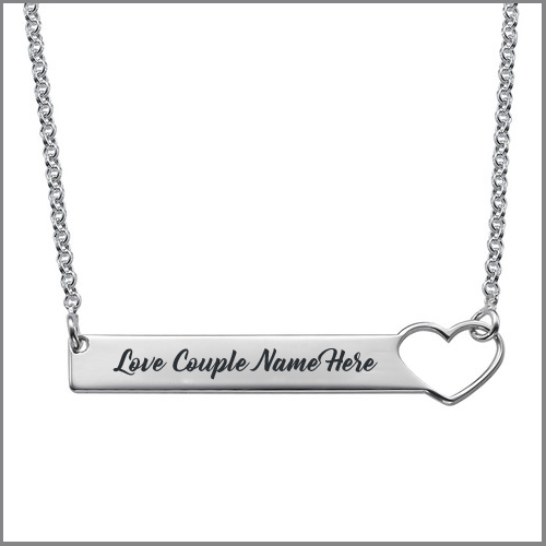Print Name on Silver Heart Bar Necklace For Girlfriend