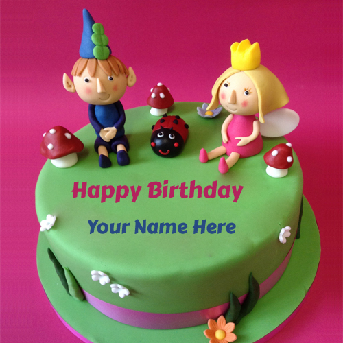 Childrens Birthday Wishes Delight Cake With Your Name