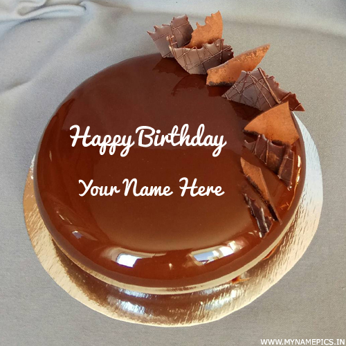 Elegant Chocolate Cake For Birthday Wishes With Name