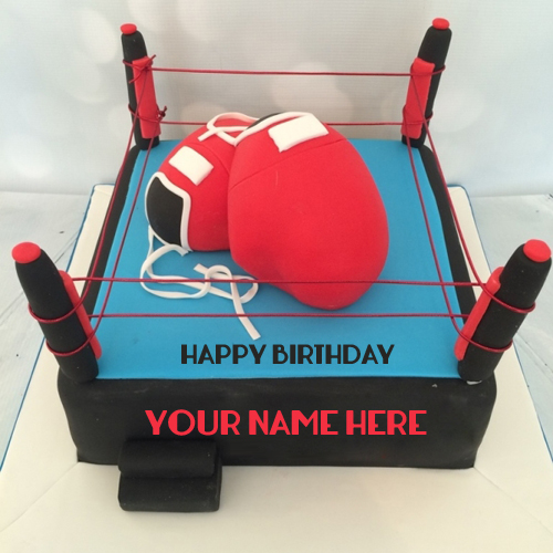 Happy Birthday Professional Boxing Sports Cake With Nam