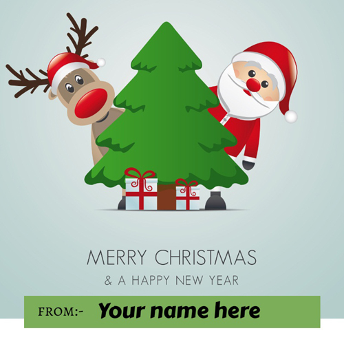 Merry Christmas and New Year Wishes Greeting With Name