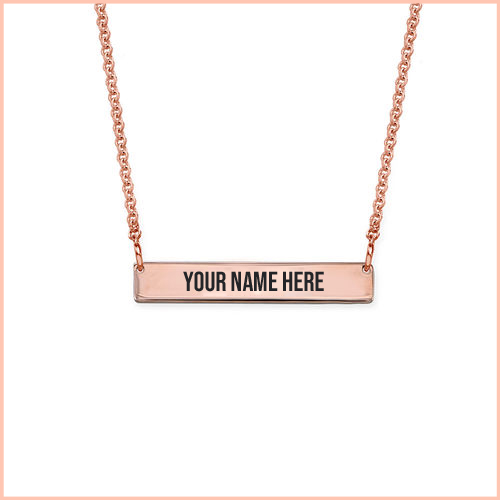 Customized Name Engraved Rose Gold Bar Necklace