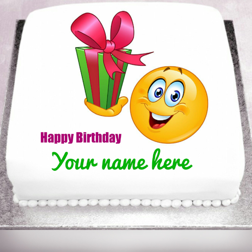 Happy Birthday Name Cake With Cute Smiley and Gift