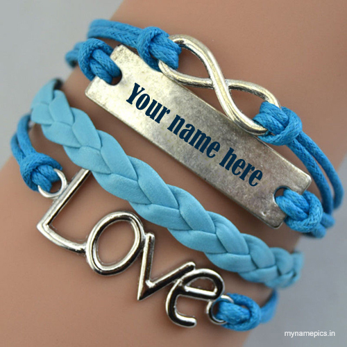 Write your name on love heart blue bracelets pic