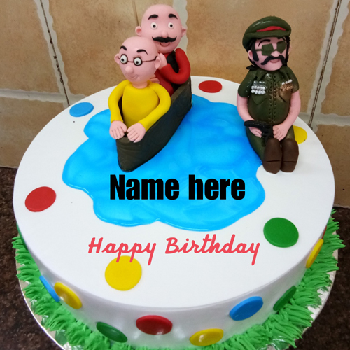 Motu Patlu Cake For Happy Birthday Wishes With Name