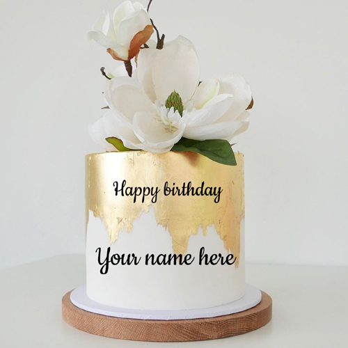 Elegant Floral Art Double Layer Birthday Cake With Name